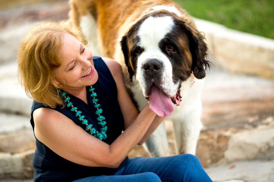 Attorney Nancy Perry Eaton with her St. Bernard dog